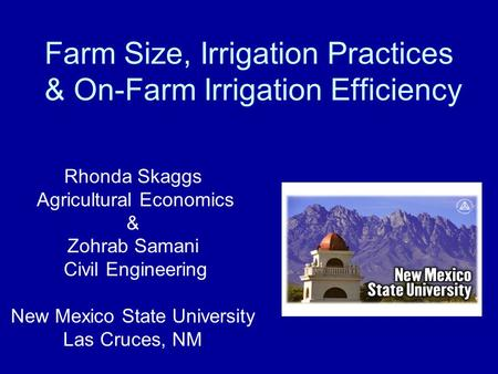 Farm Size, Irrigation Practices & On-Farm Irrigation Efficiency Rhonda Skaggs Agricultural Economics & Zohrab Samani Civil Engineering New Mexico State.