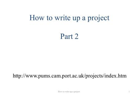how to write up a project