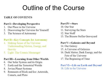 Outline of the Course TABLE OF CONTENTS Part I—Developing Perspective 1.Our Place in the Universe 2.Discovering the Universe for Yourself 3.The Science.