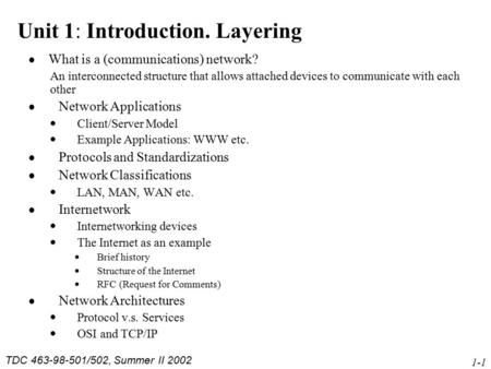 TDC 463-98-501/502, Summer II 2002 1-1 Unit 1: Introduction. Layering  What is a (communications) network? An interconnected structure that allows attached.
