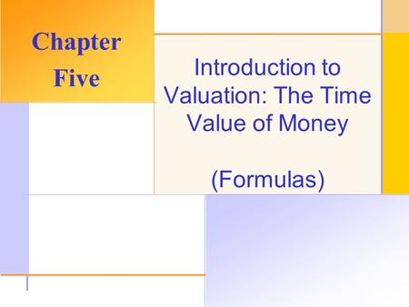 © 2003 The McGraw-Hill Companies, Inc. All rights reserved. Introduction to Valuation: The Time Value of Money (Formulas) Chapter Five.