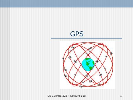 CS 128/ES 228 - Lecture 11a1 GPS. CS 128/ES 228 - Lecture 11a2 Global Positioning System www.usace.army.mil.