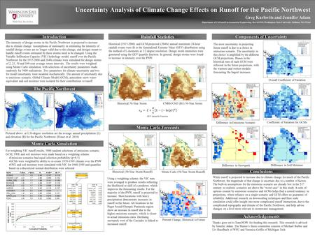 Uncertainty Analysis of Climate Change Effects on Runoff for the Pacific Northwest Greg Karlovits and Jennifer Adam Department of Civil and Environmental.