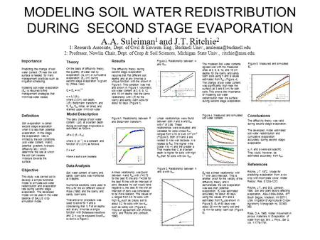 MODELING SOIL WATER REDISTRIBUTION DURING SECOND STAGE EVAPORATION A.A. Suleiman 1 and J.T. Ritchie 2 1: Research Associate, Dept. of Civil & Environ.