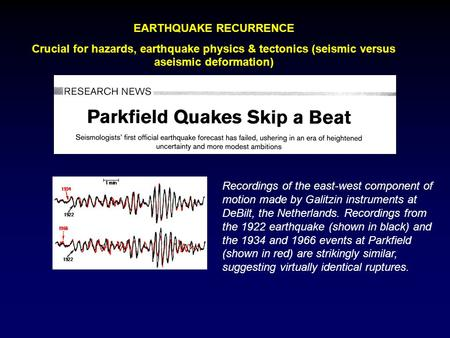 EARTHQUAKE RECURRENCE Crucial for hazards, earthquake physics & tectonics (seismic versus aseismic deformation) Recordings of the east-west component of.