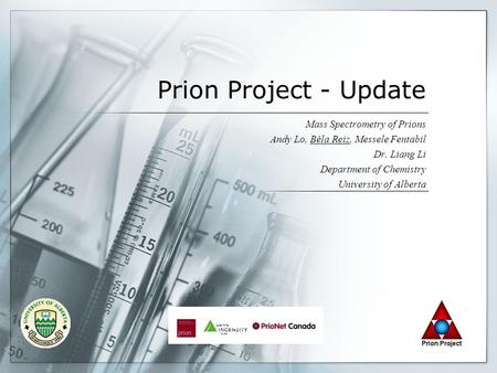 Prion Project - Update Mass Spectrometry of Prions Andy Lo, Béla Reiz, Messele Fentabil Dr. Liang Li Department of Chemistry University of Alberta.