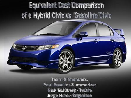 OBJECTIVE  DETERMINE THE EQUIVALENT COST OF A HYBRID CIVIC TO A PURE INTERNAL COMBUSTION HONDA CIVIC.  COMPARE HIGHWAY AND CITY MILEAGE RATIOS TO DETERMINE.