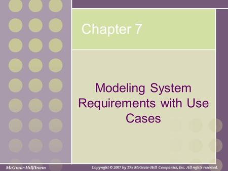 Modeling System Requirements with Use Cases
