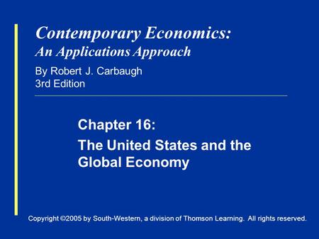 Copyright ©2005 by South-Western, a division of Thomson Learning. All rights reserved. Contemporary Economics: An Applications Approach By Robert J. Carbaugh.