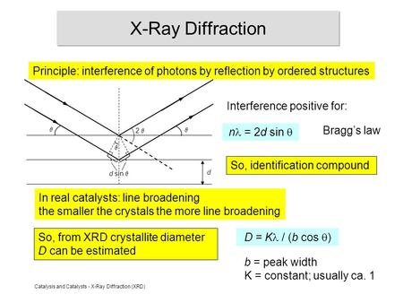 Catalysis and Catalysts - X-Ray Diffraction (XRD) X-Ray Diffraction Principle: interference of photons by reflection by ordered structures n = 2d sin 