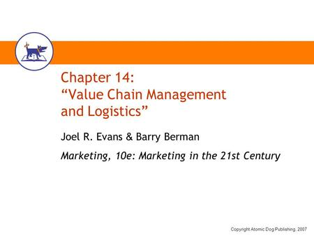 "Chapter 14: ""Value Chain Management and Logistics"""