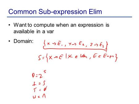 Common Sub-expression Elim Want to compute when an expression is available in a var Domain: