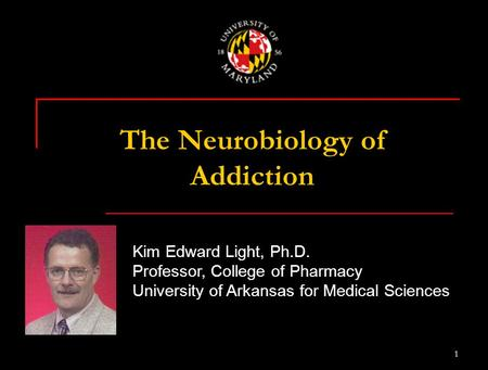 1 Kim Edward Light, Ph.D. Professor, College of Pharmacy University of Arkansas for Medical Sciences The Neurobiology of Addiction.