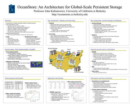 OceanStore: An Architecture for Global-Scale Persistent Storage Professor John Kubiatowicz, University of California at Berkeley