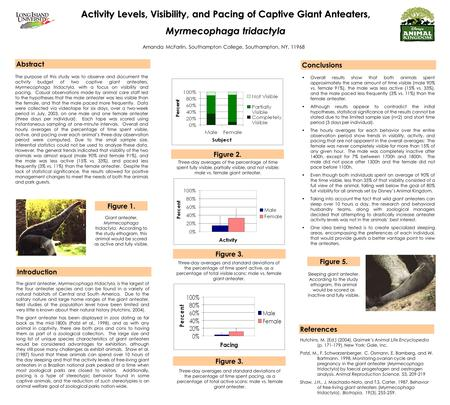 Activity Levels, Visibility, and Pacing of Captive Giant Anteaters, Myrmecophaga tridactyla Amanda McFarlin, Southampton College, Southampton, NY, 11968.