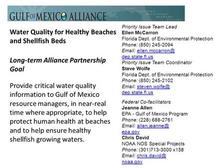 Water Quality for Healthy Beaches and Shellfish Beds Long-term Alliance Partnership Goal Provide critical water quality information to Gulf of Mexico resource.
