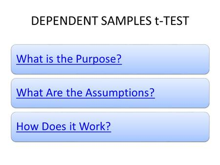 DEPENDENT SAMPLES t-TEST What is the Purpose?What Are the Assumptions?How Does it Work?