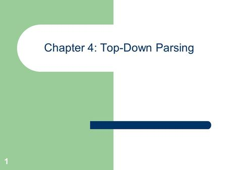 1 Chapter 4: Top-Down Parsing. 2 Objectives of Top-Down Parsing an attempt to find a leftmost derivation for an input string. an attempt to construct.