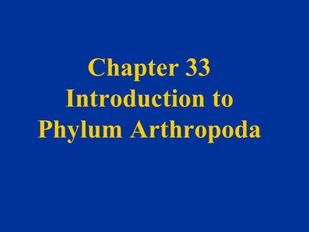 Chapter 33 Introduction to Phylum Arthropoda