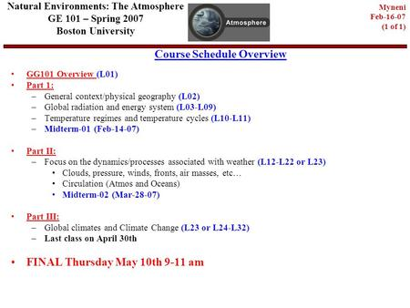 Course Schedule Overview Natural Environments: The Atmosphere GE 101 – Spring 2007 Boston University Myneni Feb-16-07 (1 of 1) GG101 Overview (L01) Part.