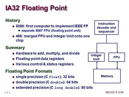 IA32 Floating Point History Summary Floating Point Formats