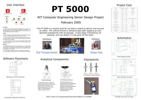 PT 5000 RIT Computer Engineering Senior Design Project HardwareSoftware Ted TomporowskiPooja Rao The PT 5000 is a custom built RC car that is meant to.