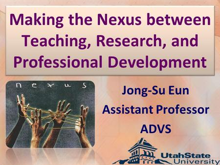 Making the Nexus between Teaching, Research, and Professional Development Jong-Su Eun Assistant Professor ADVS.
