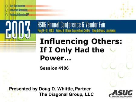 Influencing Others: If I Only Had the Power… Session 4106 Presented by Doug D. Whittle, Partner The Diagonal Group, LLC.