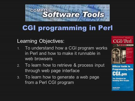 CGI programming in Perl Learning Objectives: 1. To understand how a CGI program works in Perl and how to make it runnable in web browsers 2. To learn how.