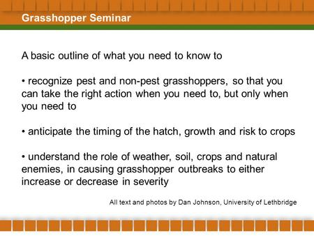 Grasshopper Seminar A basic outline of what you need to know to recognize pest and non-pest grasshoppers, so that you can take the right action when you.