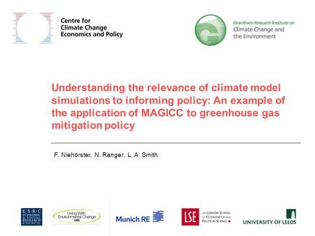 Understanding the relevance of climate model simulations to informing policy: An example of the application of MAGICC to greenhouse gas mitigation policy.