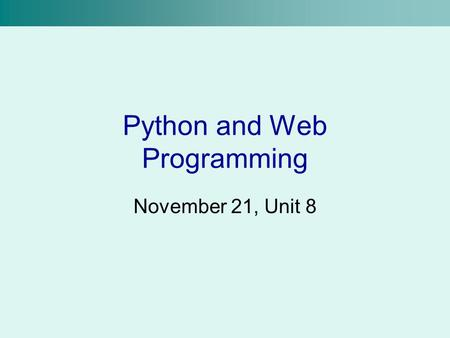Python and Web Programming
