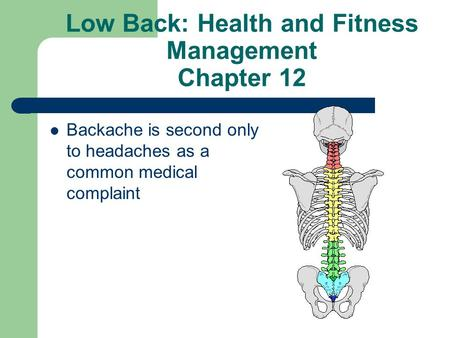 Low Back: Health and Fitness Management Chapter 12 Backache is second only to headaches as a common medical complaint.