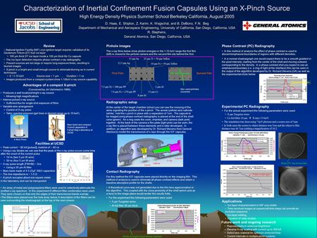 Characterization of Inertial Confinement Fusion Capsules Using an X-Pinch Source High Energy Density Physics Summer School Berkeley California, August.