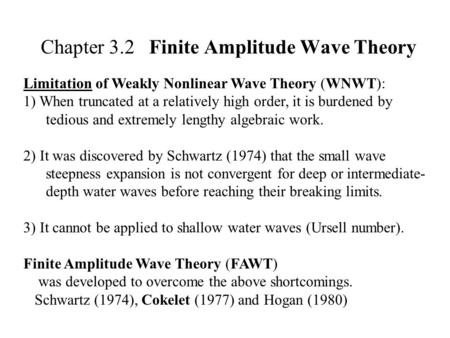 Chapter 3.2 Finite Amplitude Wave Theory