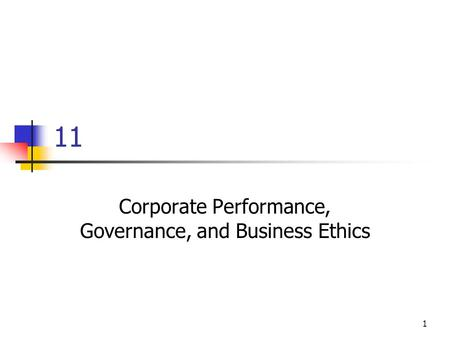 1 11 Corporate Performance, Governance, and Business Ethics.