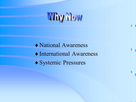  National Awareness  International Awareness  Systemic Pressures.