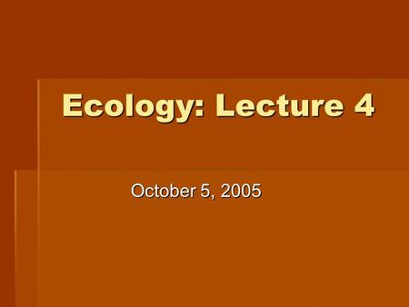 Ecology: Lecture 4 October 5, 2005. Laysan's albatross: Population at Midway I., breeding season Photo courtesy of Painet photos.