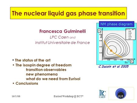 16/1/06Eurisol ECT*1 The nuclear liquid gas phase transition Francesca Gulminelli LPC Caen and Institut Universitaire de France The status of.