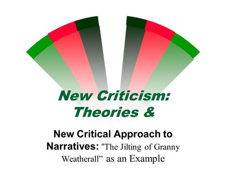 "New Criticism: Theories & New Critical Approach to Narratives: ""The Jilting of Granny Weatherall"" as an Example."