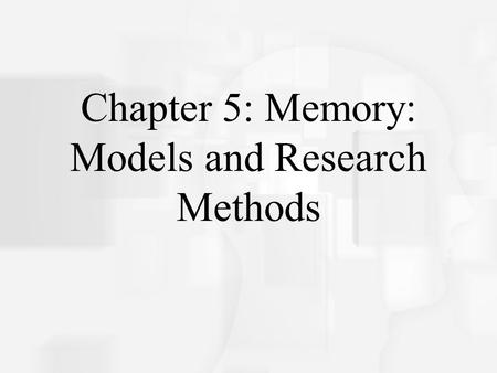 Results chapter memory research