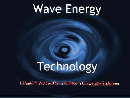 Wave Energy Technology. Why explore wave power in Hawai'i? Wave Energy Levels (kW/m of Wave Front) Formula used to calculate this Power (in kW/m) = k.