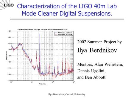 Ilya Berdnikov, Cornell University. Characterization of the LIGO 40m Lab Mode Cleaner Digital Suspensions. 2002 Summer Project by Ilya Berdnikov Mentors: