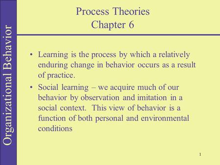 Process Theories Chapter 6