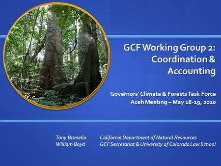GCF Working Group 2: Coordination & Accounting Governors' Climate & Forests Task Force Aceh Meeting – May 18-19, 2010 Tony BrunelloCalifornia Department.