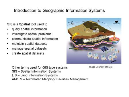 Introduction to Geographic Information Systems GIS is a Spatial tool used to query spatial information investigate spatial problems communicate spatial.