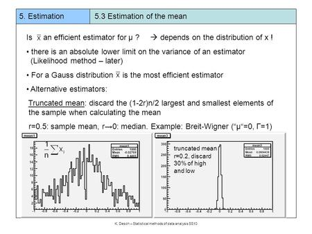 5. Estimation 5.3 Estimation of the mean K. Desch – Statistical methods of data analysis SS10 Is an efficient estimator for μ ?  depends on the distribution.