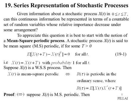 19. Series Representation of Stochastic Processes