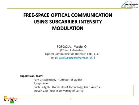 FREE-SPACE OPTICAL COMMUNICATION USING SUBCARRIER INTENSITY MODULATION