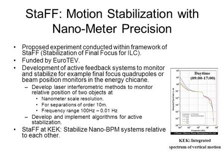 StaFF: Motion Stabilization with Nano-Meter Precision Proposed experiment conducted within framework of StaFF (Stabilization of Final Focus for ILC). Funded.